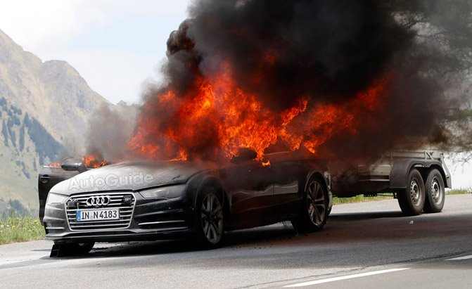 2019 Audi A7 Test Car Goes Up in Flames During Testing ...