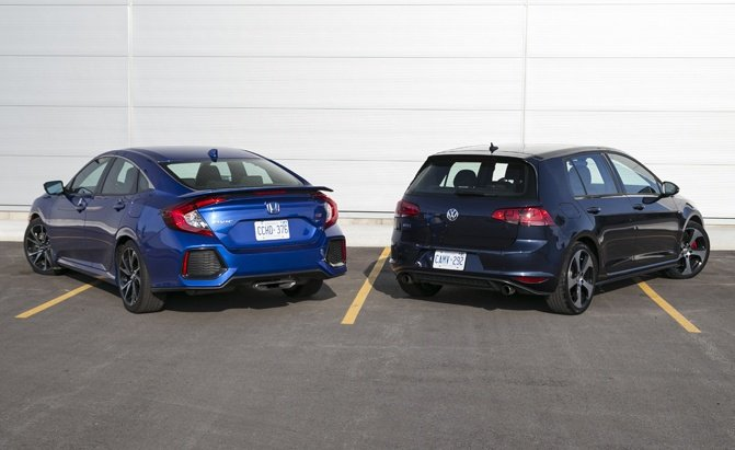 compact cars reviews 2017 honda civic si vs volkswagen gti comparison