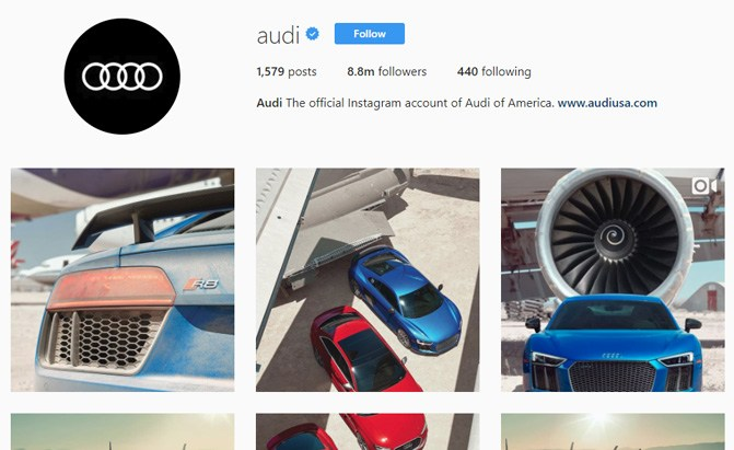 audi instagram page