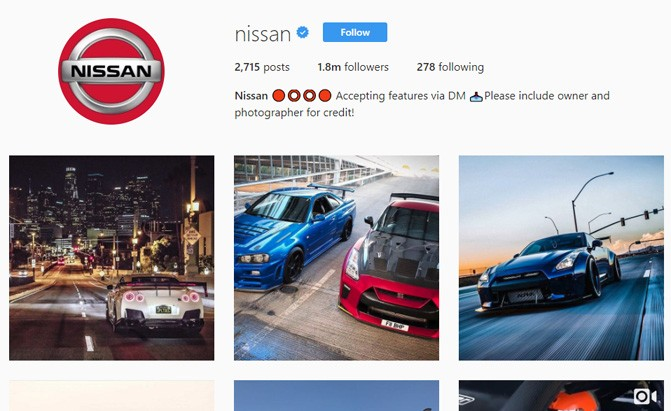 nissan instagram page