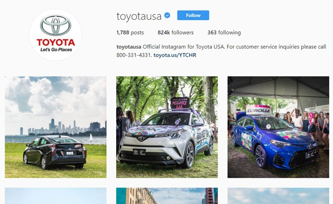 toyota instagram page