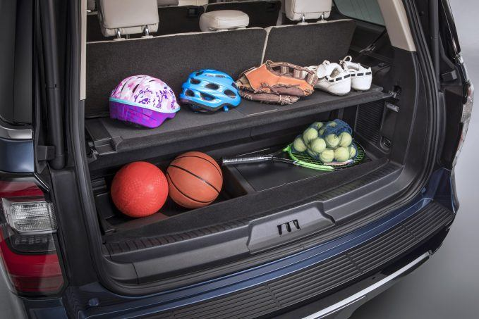 An available advanced cargo manager makes efficient use of space in the rear cargo area. An adjustable shelf lets customers create a storage space that best suits the size and shape of the items they're hauling.
