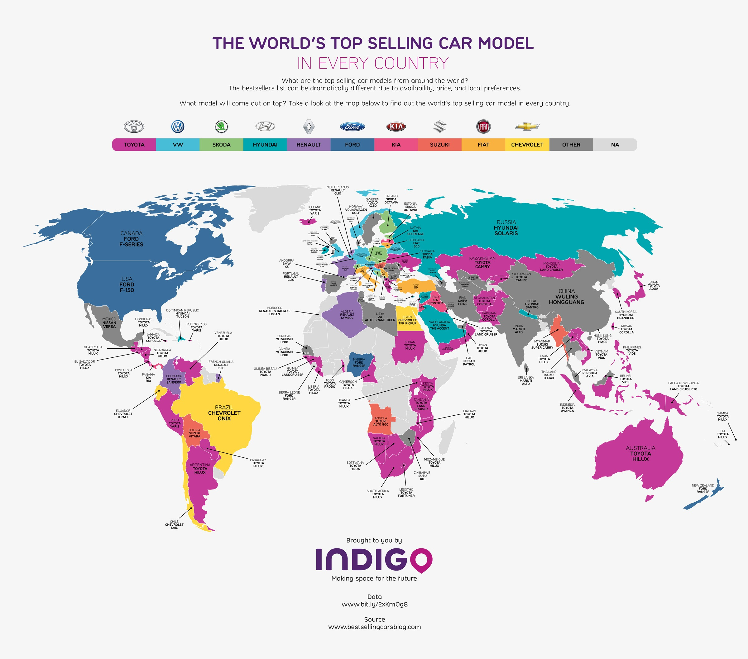 This map will show you the most popular cars in every country this map created by indigo paints an interesting picture of the worlds top selling car models by country gumiabroncs Choice Image