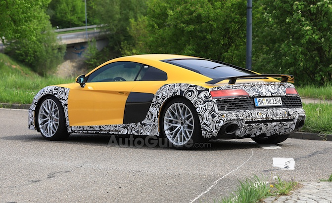 2020 Audi R8 Spied Looking Yellow And Camouflaged