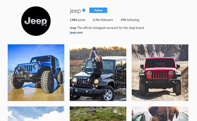 jeep instagram page