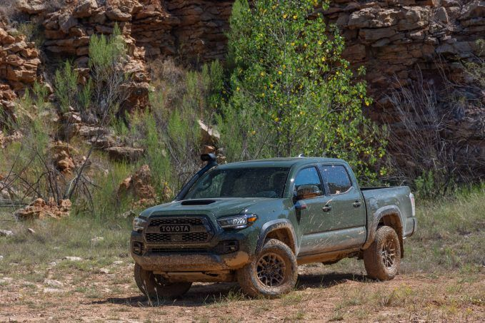 2020 Toyota Tacoma TRD Pro Army Green front quarter