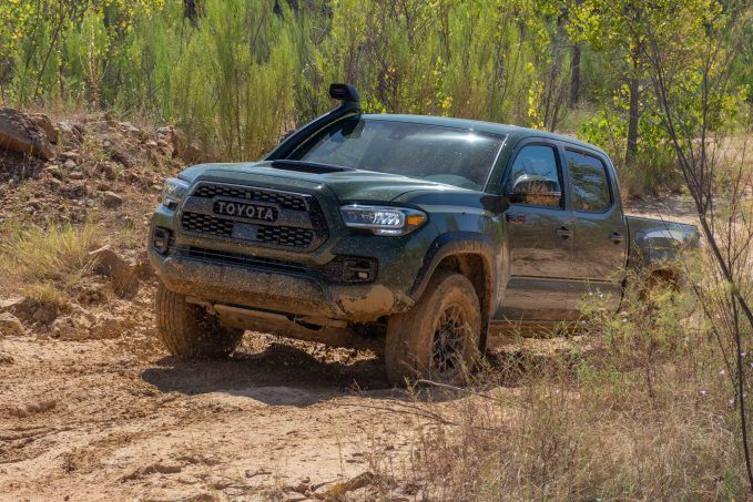2020 Toyota Tacoma TRD Pro Army Green in the mud