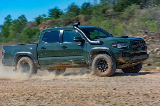 2020 Toyota Tacoma TRD Pro Army Green profile at speed
