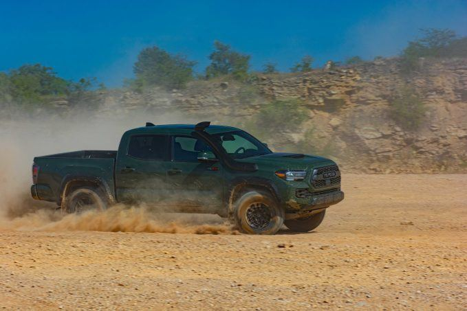 2020 Toyota Tacoma TRD Pro Army Green profile turning