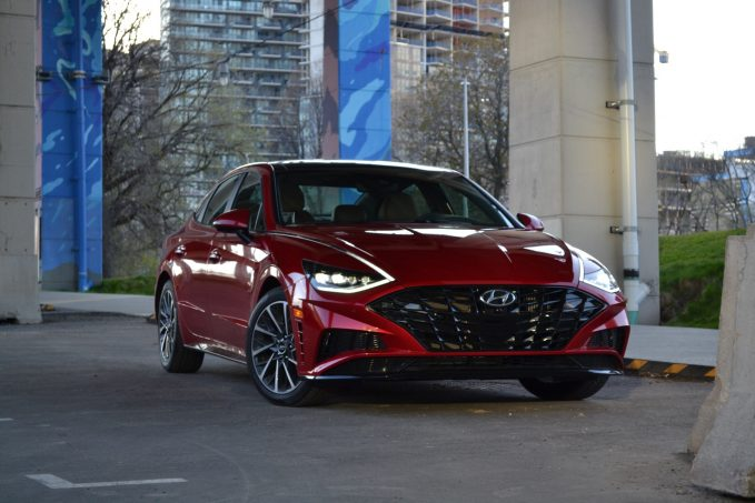 2020 Hyundai Sonata red front three-quarters