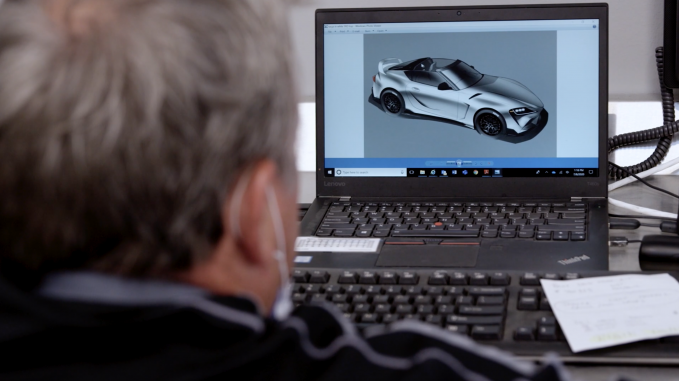 Images on the computer screen reveals a plan to add an aggressive rear diffuser to the GR Supra Sport Top along with a few other aero bits.