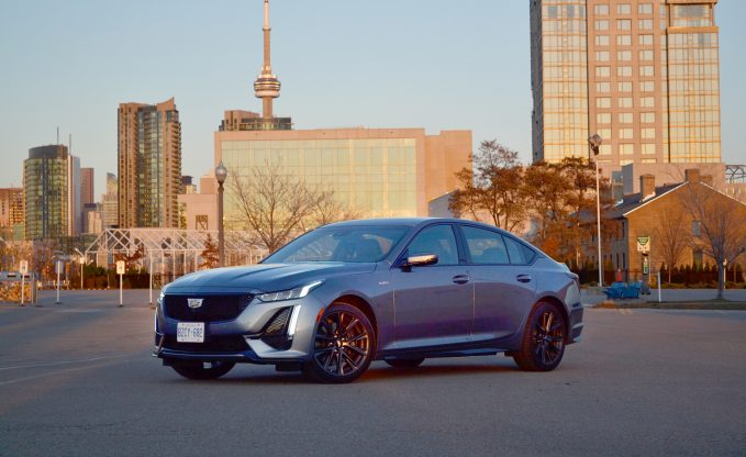 2020 Cadillac CT5-V in gray in front of Toronto skyline