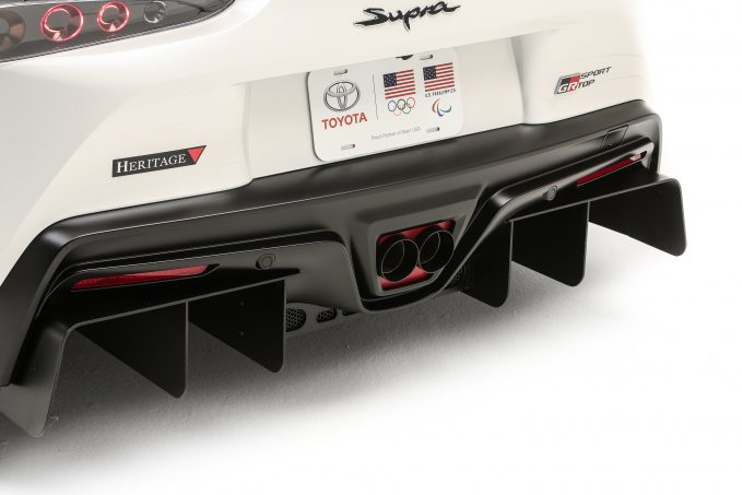 The rear and exhaust of Toyota's GR Supra Sport Top build