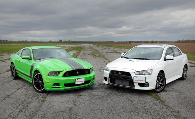 Ford Mustang Boss 302 Vs Mitsubishi Lancer Evo Car Reviews